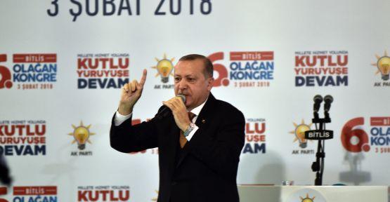 CUMHURBAŞKANI ERDOĞAN BİTLİS'TE PARTİSİNİN KONGRESİNE KATILDI